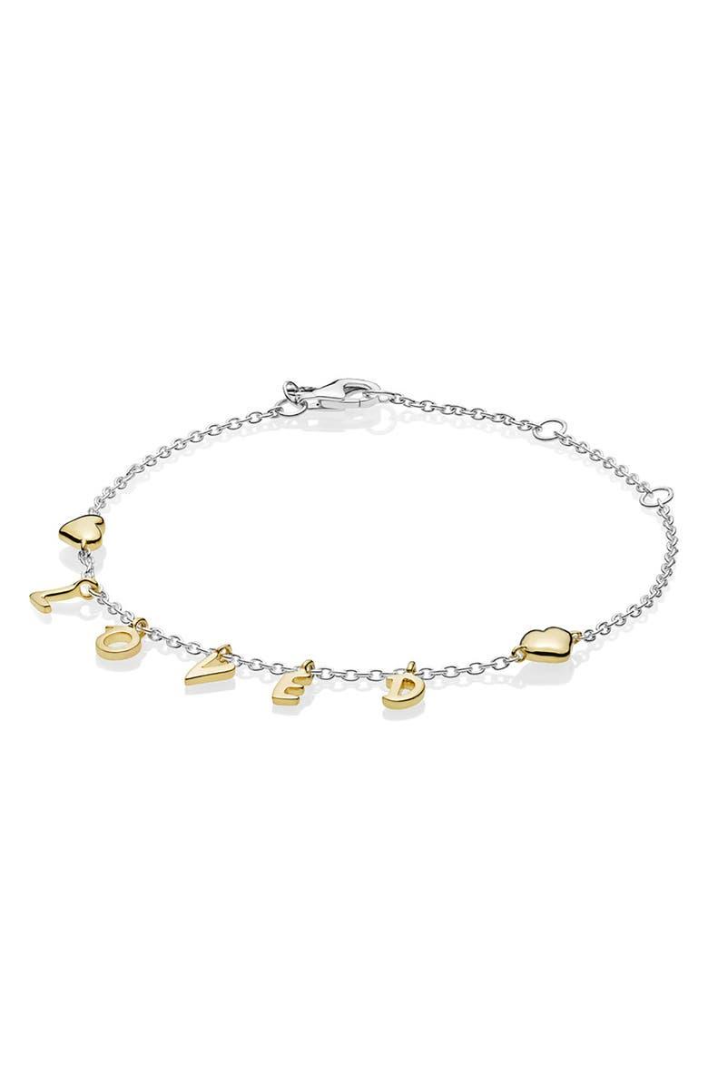 PANDORA Loved Script Charm Bracelet, Main, color, 040