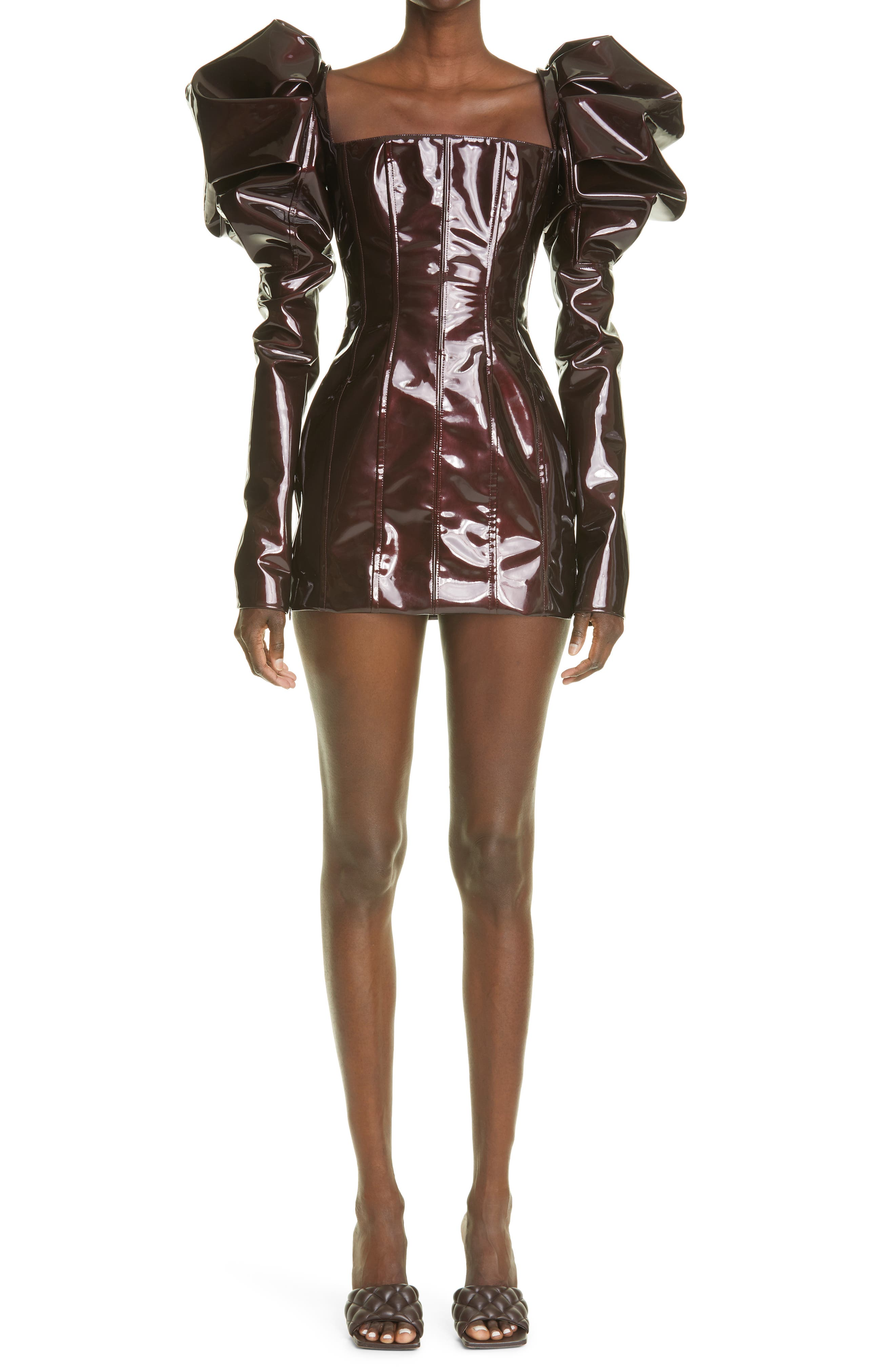 Puff Long Sleeve Pvc Minidress