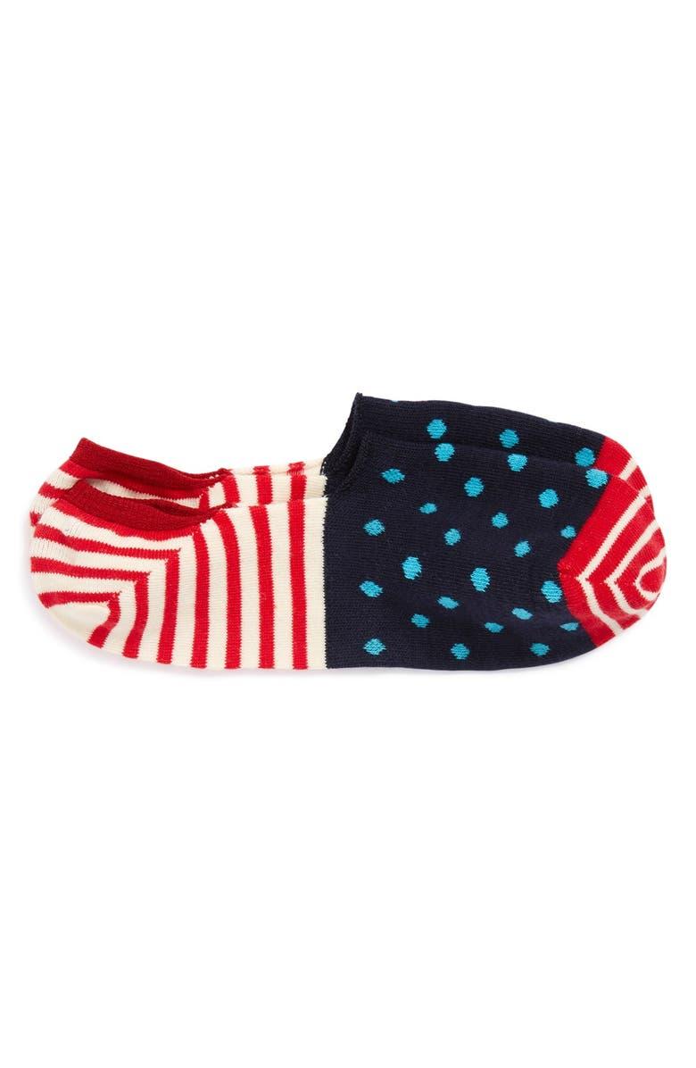 HAPPY SOCKS Dot & Stripe No-Show Liner Socks, Main, color, 424