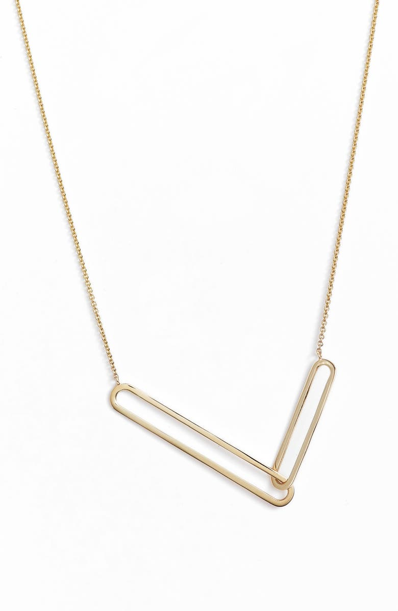 BONY LEVY Paperclip Necklace, Main, color, GOLD