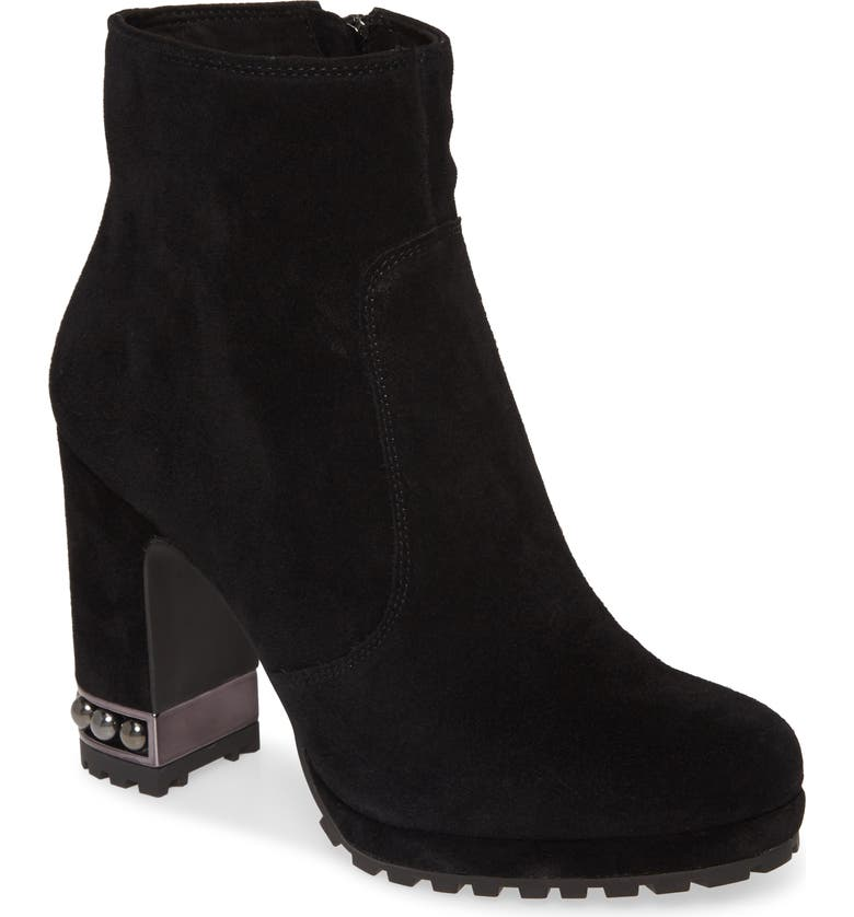KARL LAGERFELD PARIS Lenore Boot, Main, color, BLACK SUEDE