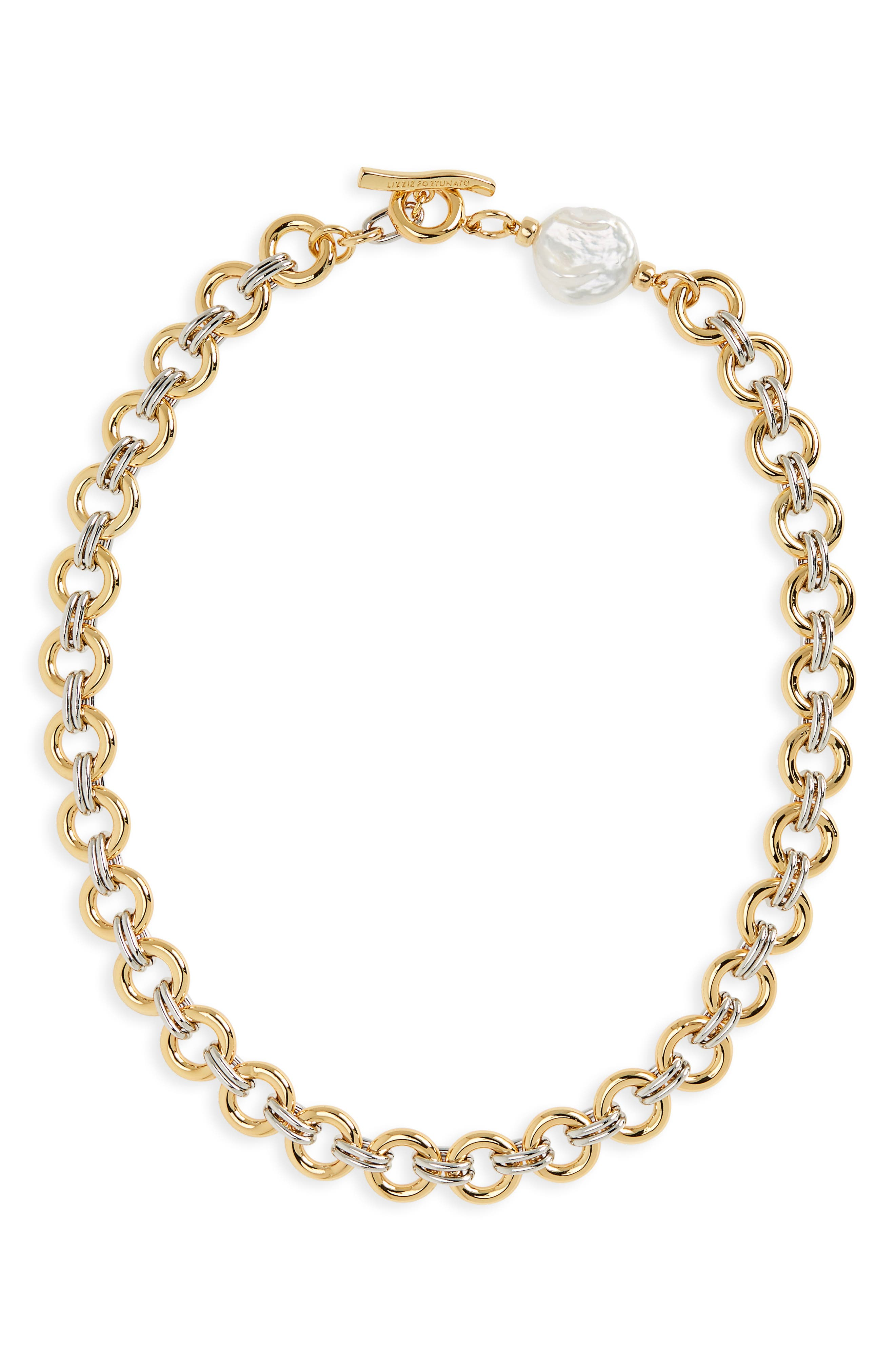 Duet Chain Pearl Collar Necklace