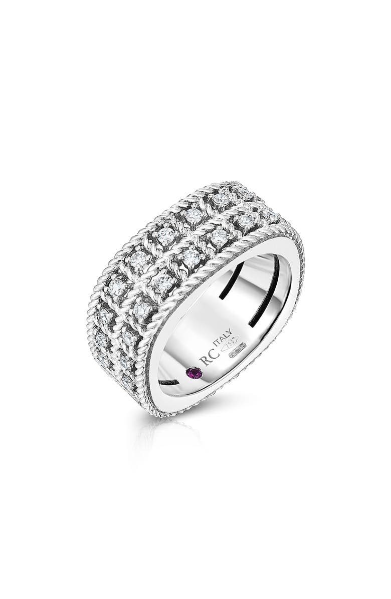 ROBERTO COIN Byzantine Double Row Diamond Ring, Main, color, WHITE GOLD