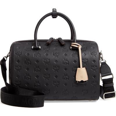Mcm Essential Boston Monogram Leather Satchel - Black