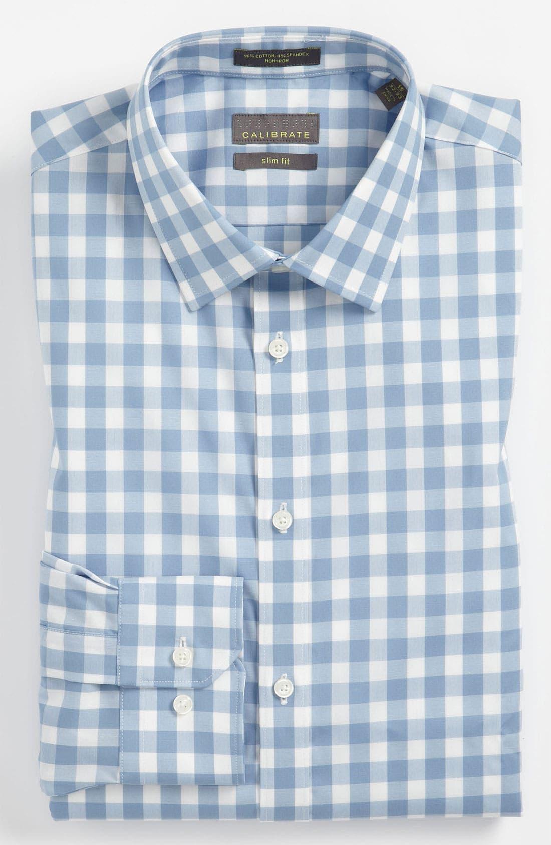 ,                             Slim Fit Non Iron Gingham Dress Shirt,                             Main thumbnail 11, color,                             400