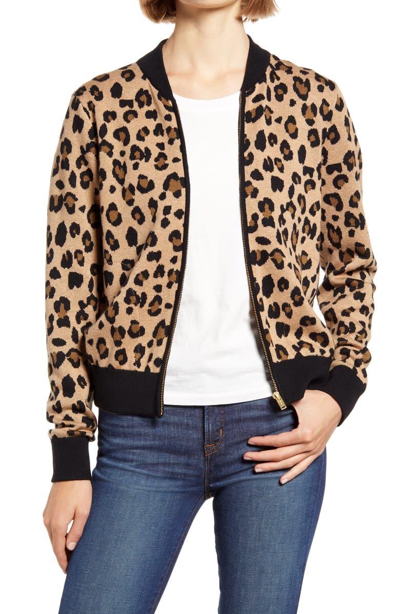 J.CREW Leopard Bomber Sweater Jacket, Main, color, HEATHER KHAKI PECAN BLACK