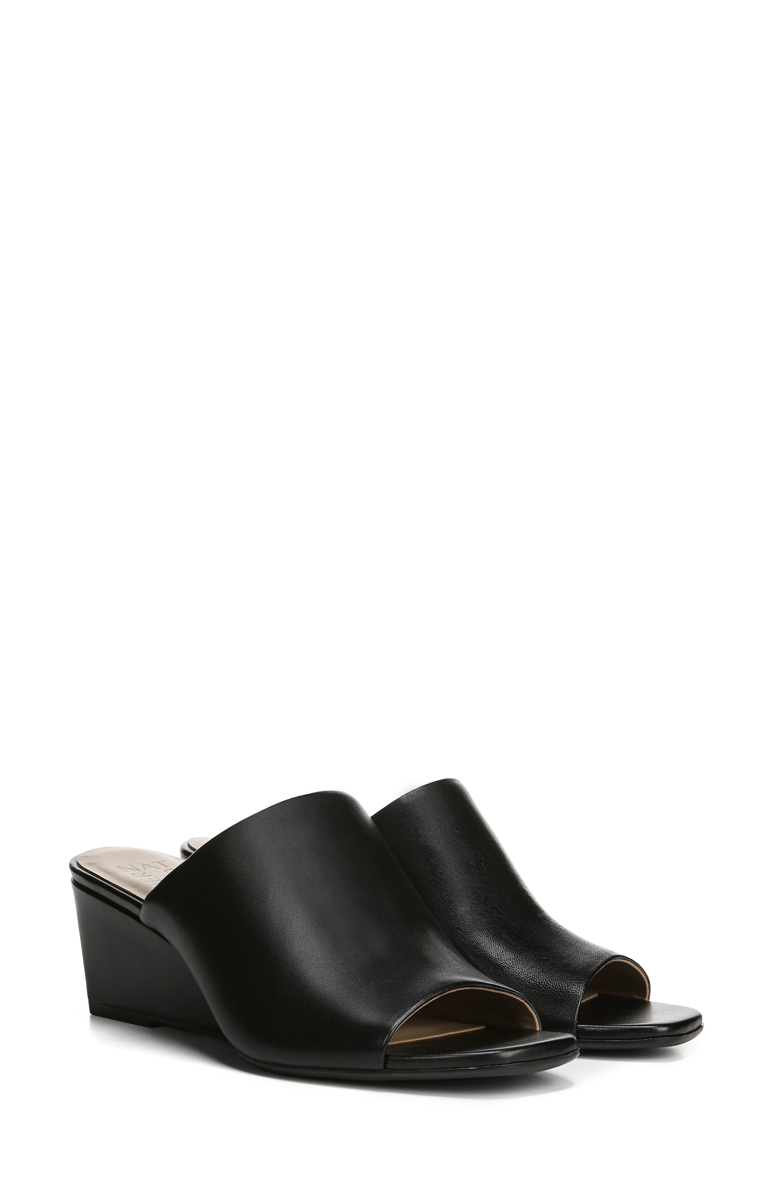 ,                             Zaya Wedge Slide Sandal,                             Alternate thumbnail 9, color,                             BLACK LEATHER