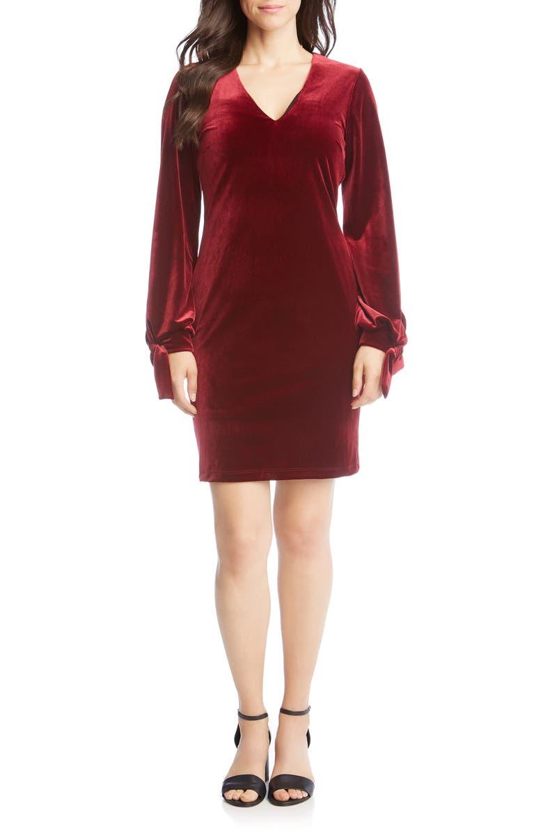 KAREN KANE Velvet Tie Sleeve Dress, Main, color, 601