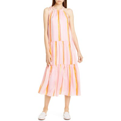 Club Monaco Amirra Sleeveless Tiered Silk Midi Dress, Pink