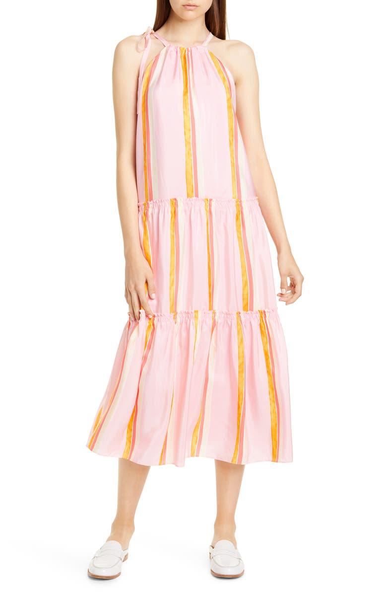 CLUB MONACO Amirra Sleeveless Tiered Silk Midi Dress, Main, color, PINK MULTI
