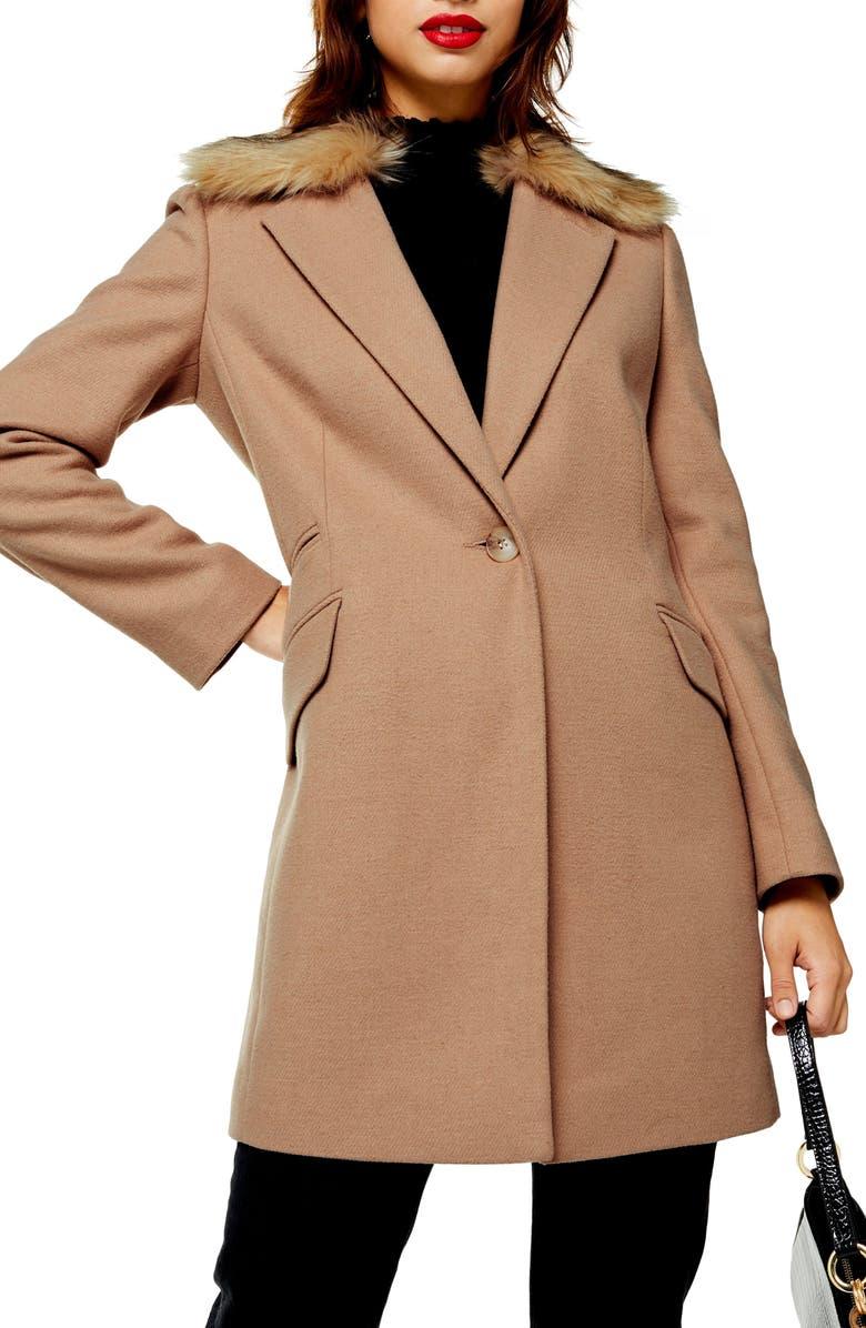 TOPSHOP Monica Faux Fur Collar Coat, Main, color, CAMEL