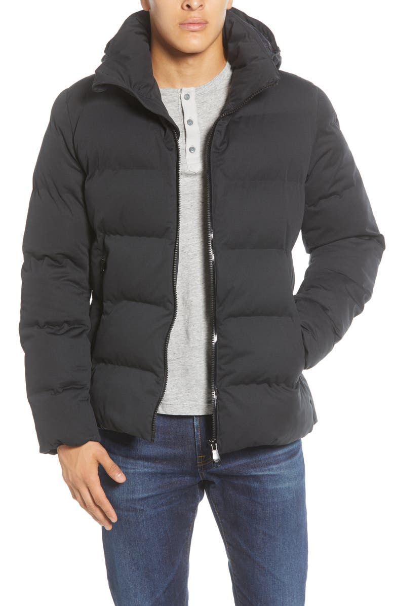 SAVE THE DUCK Water Resistant Hooded Puffer Jacket, Main, color, BLACK
