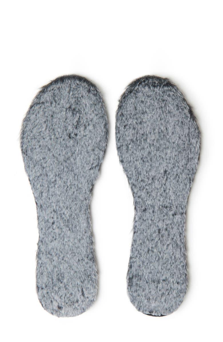 FOOT PETALS Furry Faux Fur Insoles, Main, color, 001