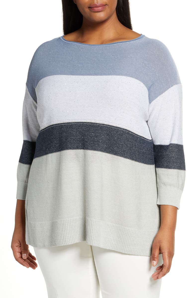LAFAYETTE 148 NEW YORK Chain Embellished Ombré Colorblock Sweater, Main, color, DUNGAREE BLUE MULTI