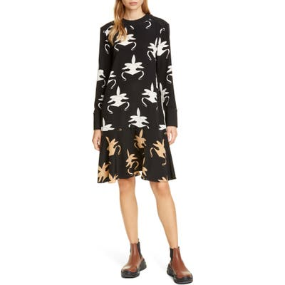 Tibi Ghost Orchid Long Sleeve Silk Dress, Black