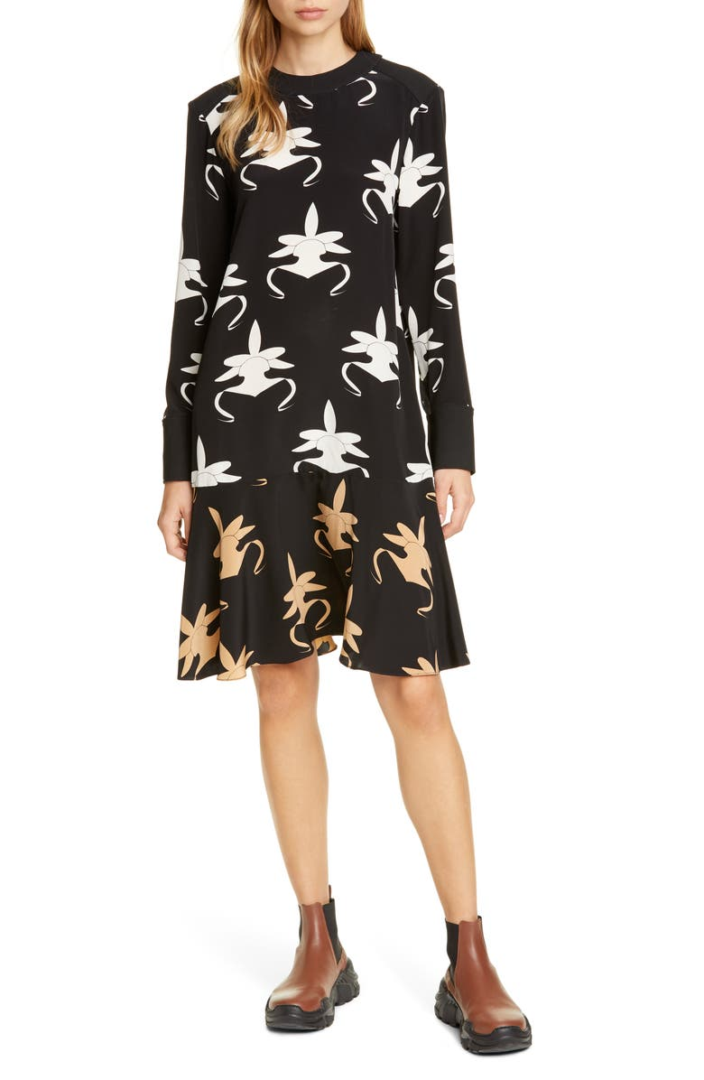 TIBI Ghost Orchid Long Sleeve Silk Dress, Main, color, BLACK/ IVORY/ TAN MULTI
