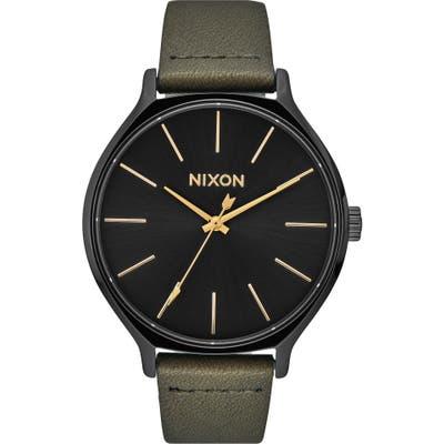 Nixon The Clique Leather Strap Watch,