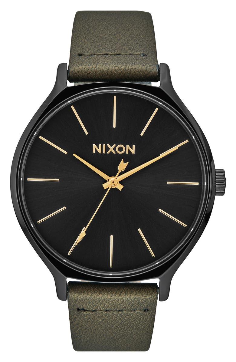 NIXON The Clique Leather Strap Watch, 38mm, Main, color, FATIGUE/ BLACK
