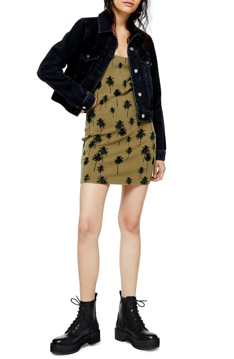 TOPSHOP Palm Print Tunic Tank Dress, Main, color, OLIVE MULTI