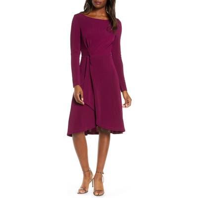 Leota Erin Knot Waist Long Sleeve Textured Crepe Dress, Purple