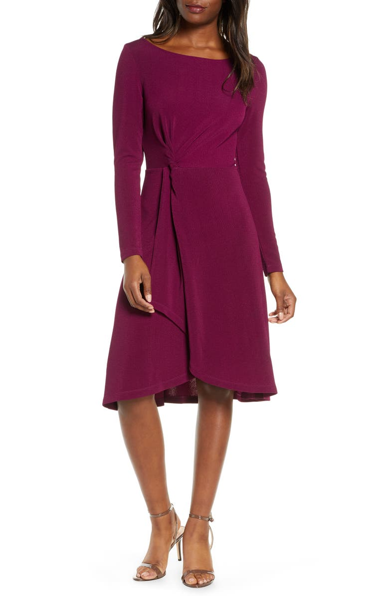 LEOTA Erin Knot Waist Long Sleeve Textured Crepe Dress, Main, color, 501