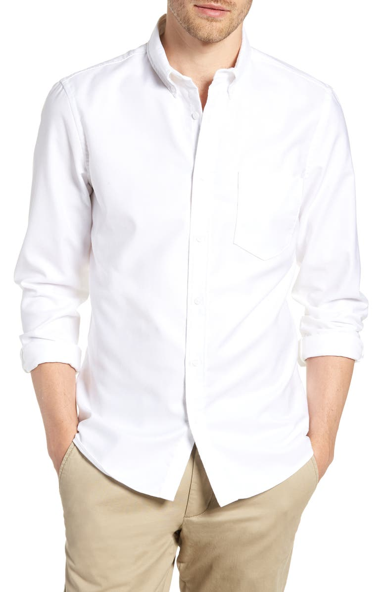 1901 Trim Fit Washed Oxford Shirt, Main, color, WHITE OXFORD