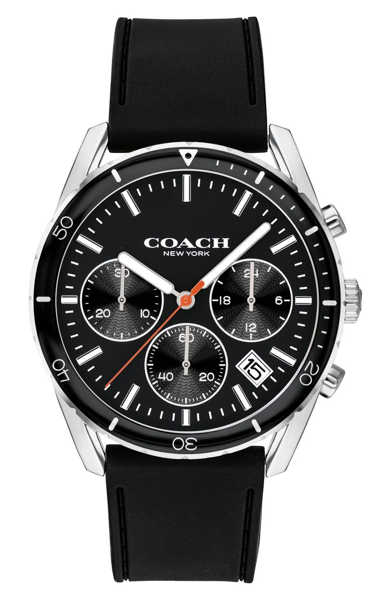 COACH Thompson Sport Chronograph Rubber Strap Watch, 41mm, Main, color, BLACK/ SILVER