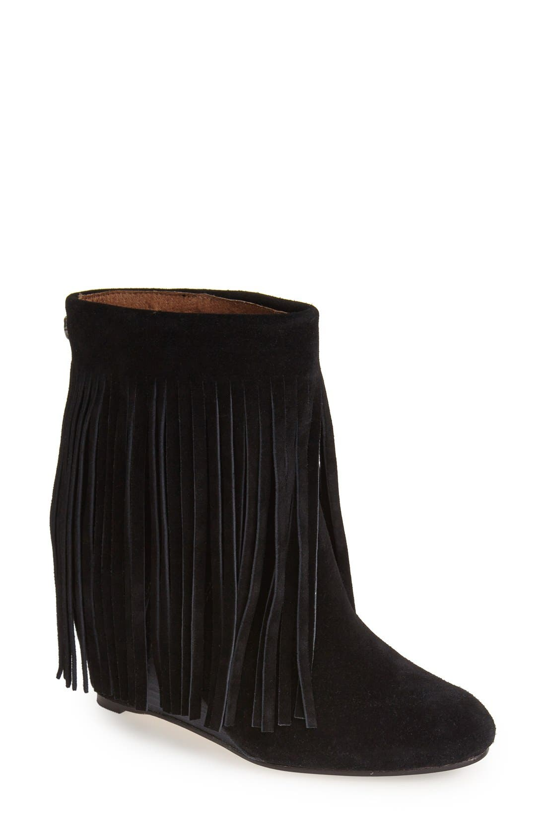 ,                             'Zarin' Fringe Wedge Bootie,                             Main thumbnail 1, color,                             001