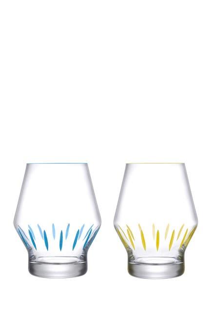 Image of Nude Glass Beak Iris Apfel Inspiration Glasses - Set of 2 - Yellow and Blue Striped