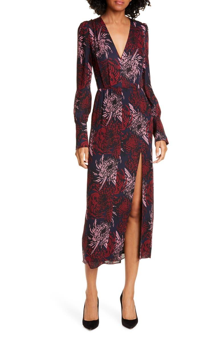 A.L.C. Bailey Floral Long Sleeve Silk Midi Dress, Main, color, 401