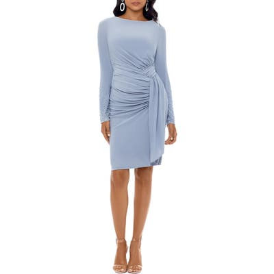 Xscape Ruched Long Sleeve Cocktail Dress, Metallic