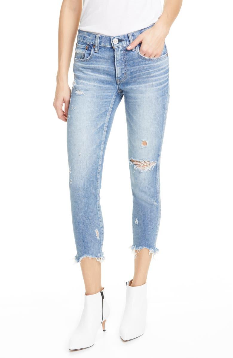MOUSSY VINTAGE Glendale Distressed Crop Skinny Jeans, Main, color, LIGHT BLUE