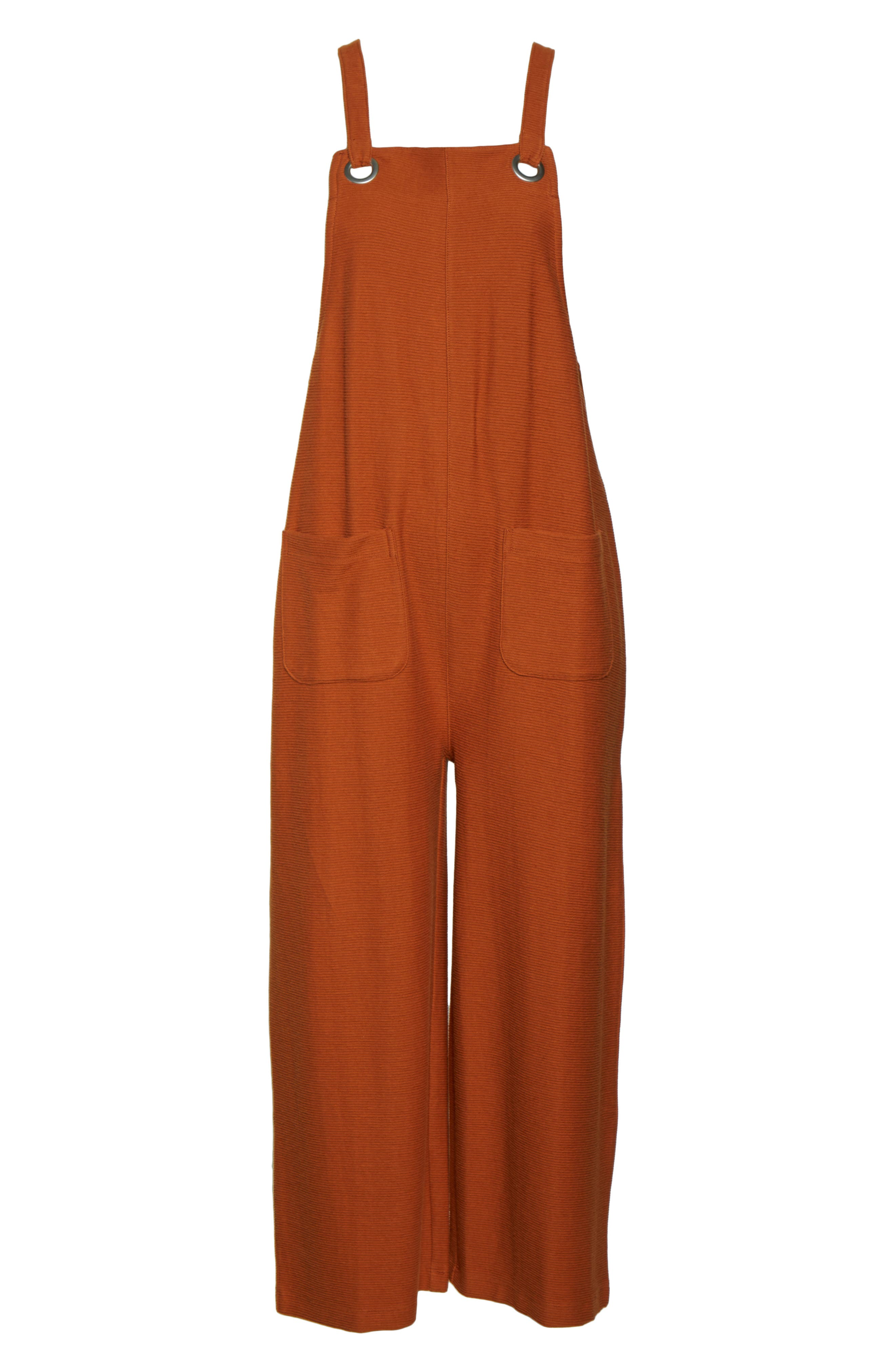 ,                             Texture & Thread Apron Bow Back Jumpsuit,                             Alternate thumbnail 6, color,                             BRIGHT EMBER