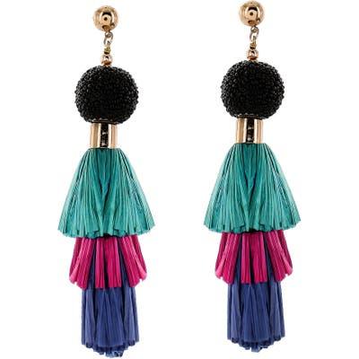 Panacea Raffia Tassel Drop Earrings