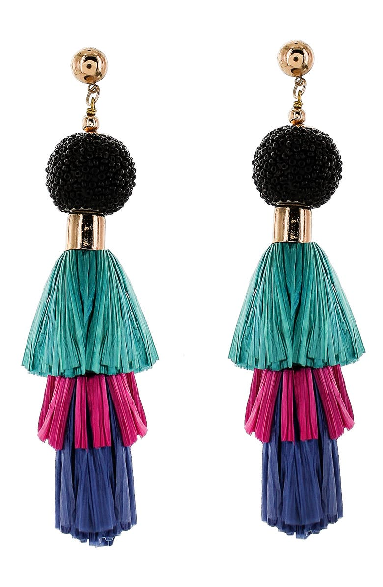 PANACEA Raffia Tassel Drop Earrings, Main, color, TEAL MULTI
