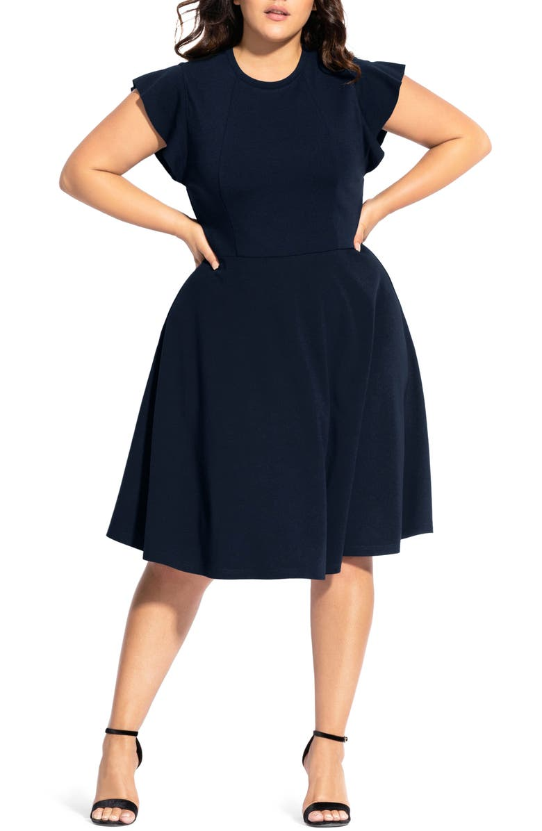 CITY CHIC Frill Sleeve Fit & Flare Dress, Main, color, NAVY