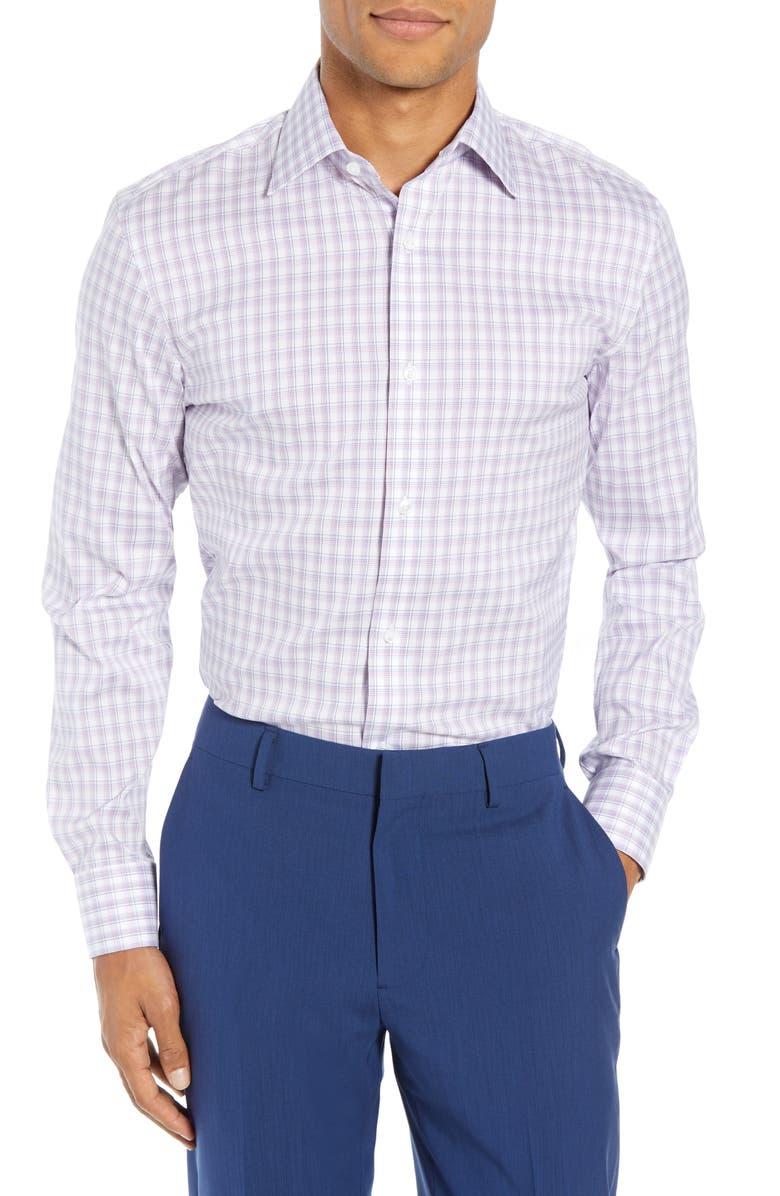 BONOBOS Slim Fit Stretch Plaid Dress Shirt, Main, color, 500