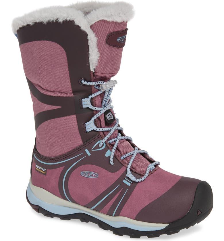 KEEN Terradora Faux Fur Trim Waterproof Snow Boot, Main, color, WINESTASTING/ TULIPWOOD