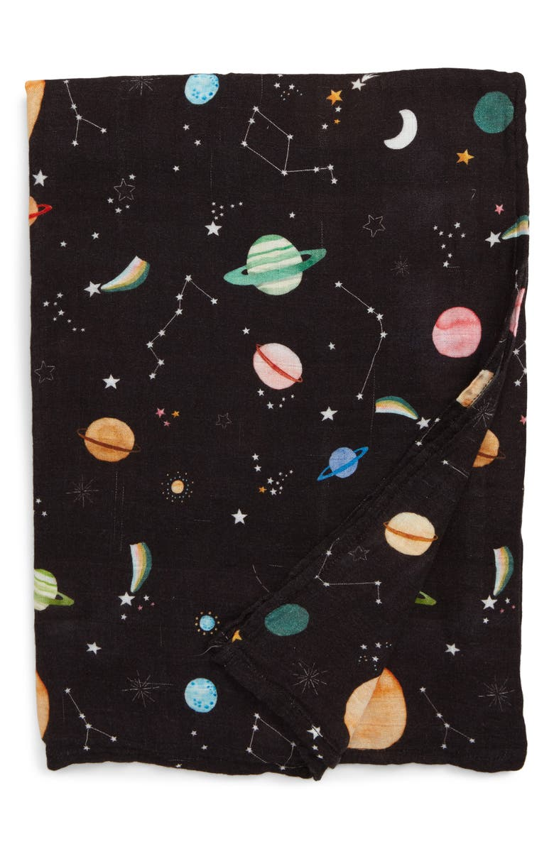 LOULOU LOLLIPOP Planets Deluxe Muslin Swaddle Blanket, Main, color, PLANETS