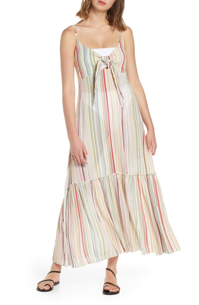 ELAN Tie Front Cover-Up Maxi Dress, Main, color, RAINBOW MINI STRIPE