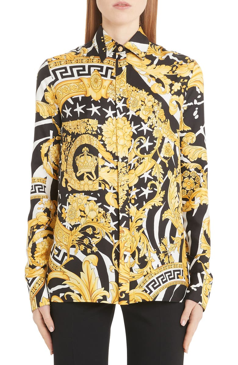 VERSACE Barocco Print Silk Blouse, Main, color, BARCO