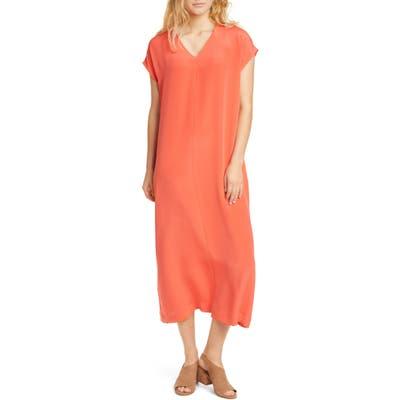 Eileen Fisher V-Neck Silk Midi Dress, Red