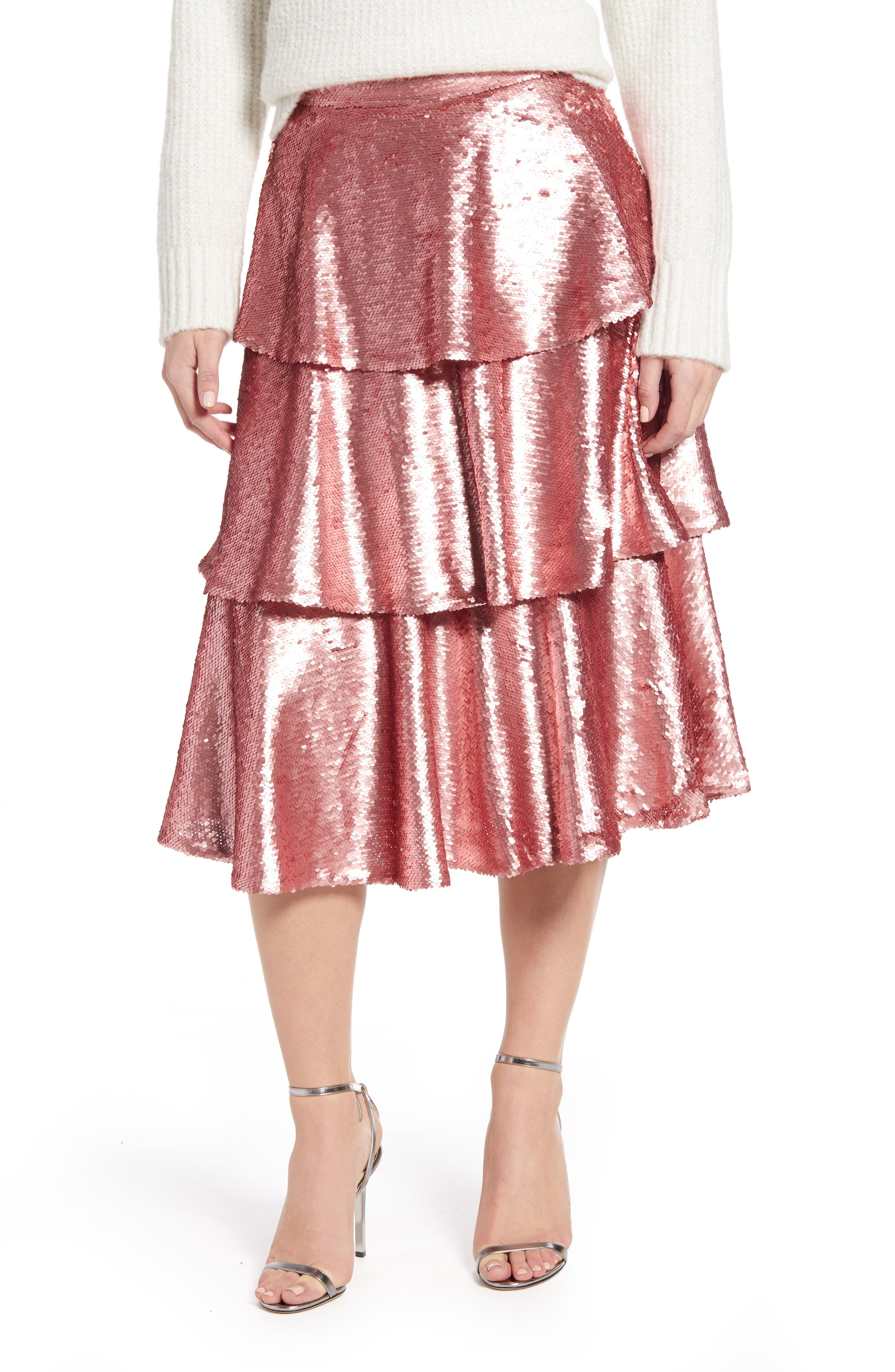 Image of RACHEL PARCELL Tiered Sequin Skirt