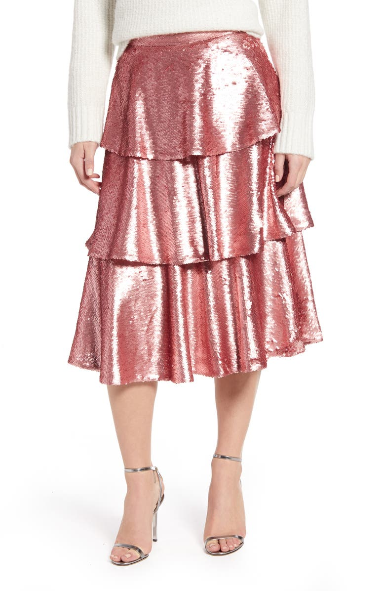 RACHEL PARCELL Tiered Sequin Skirt, Main, color, PINK BRIDE SEQUINS