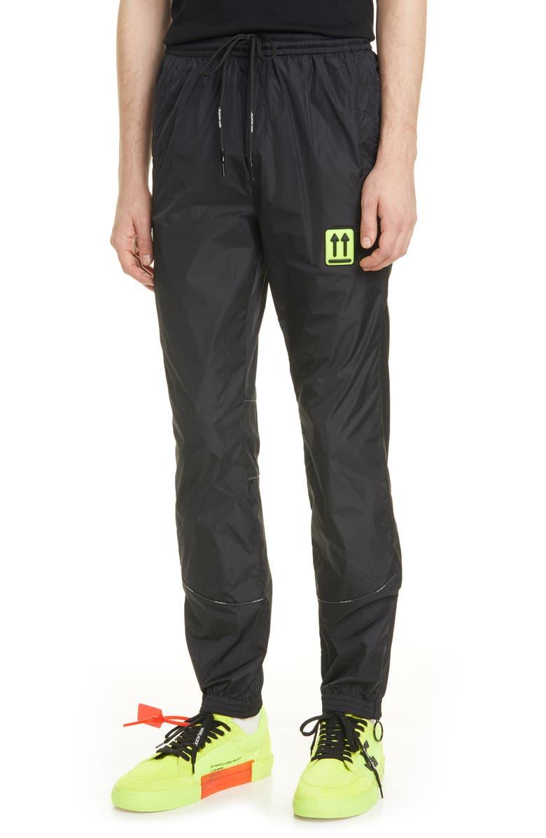 OFF-WHITE River Trail Nylon Track Pants, Main, color, BLACK