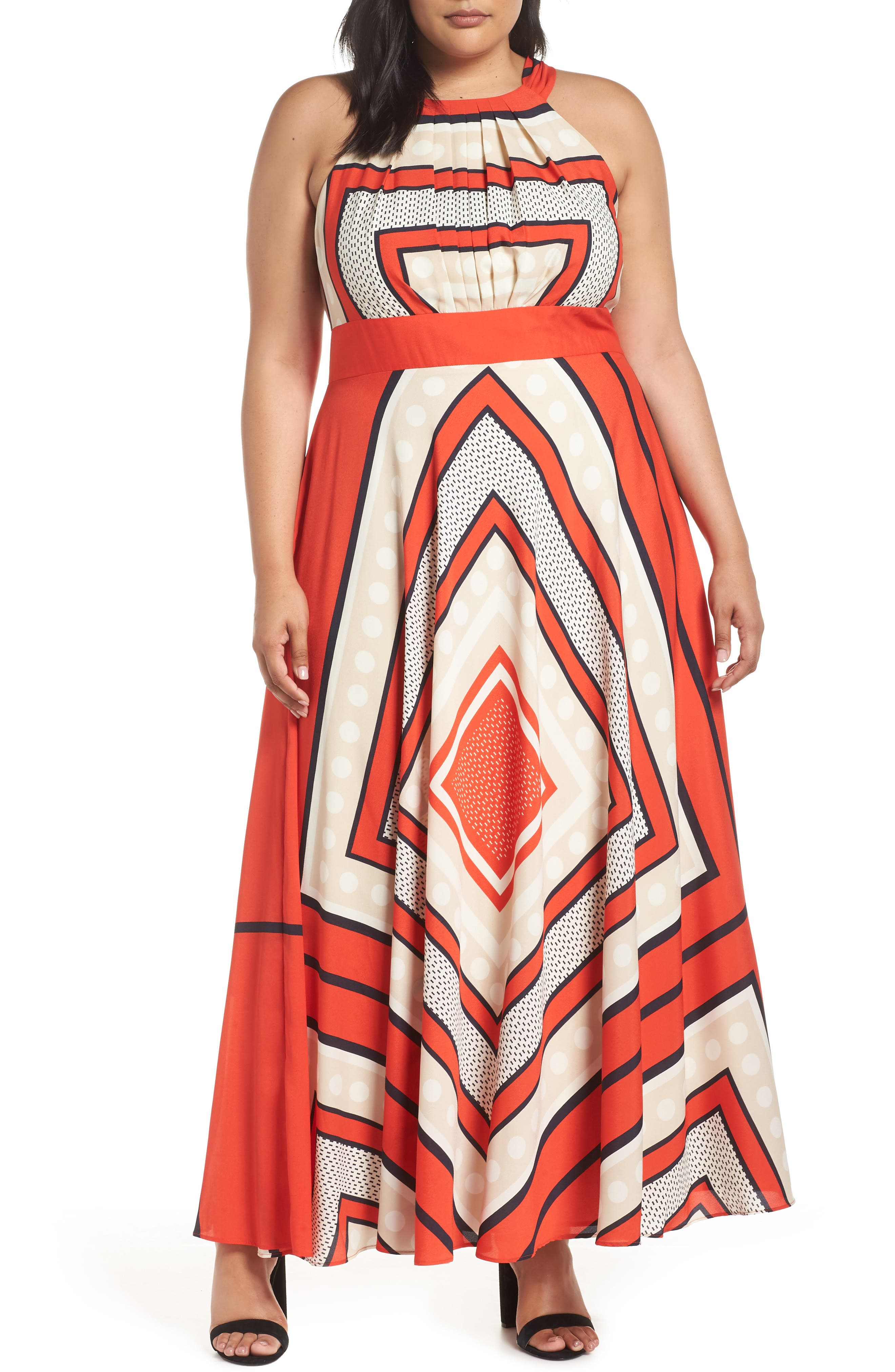 70s Prom, Formal, Evening, Party Dresses Plus Size Womens Eliza J Halter Scarf Print Woven Maxi Dress Size 14W - Red $100.80 AT vintagedancer.com