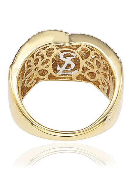 Image of Suzy Levian Gold-Tone Tricolor Chocolate & White CZ Ring