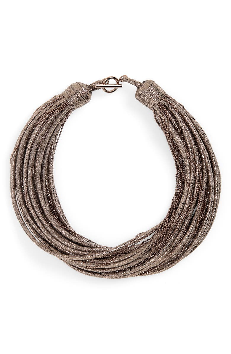 BRUNELLO CUCINELLI Monili & Leather Multistrand Choker Necklace, Main, color, GRAPHITE