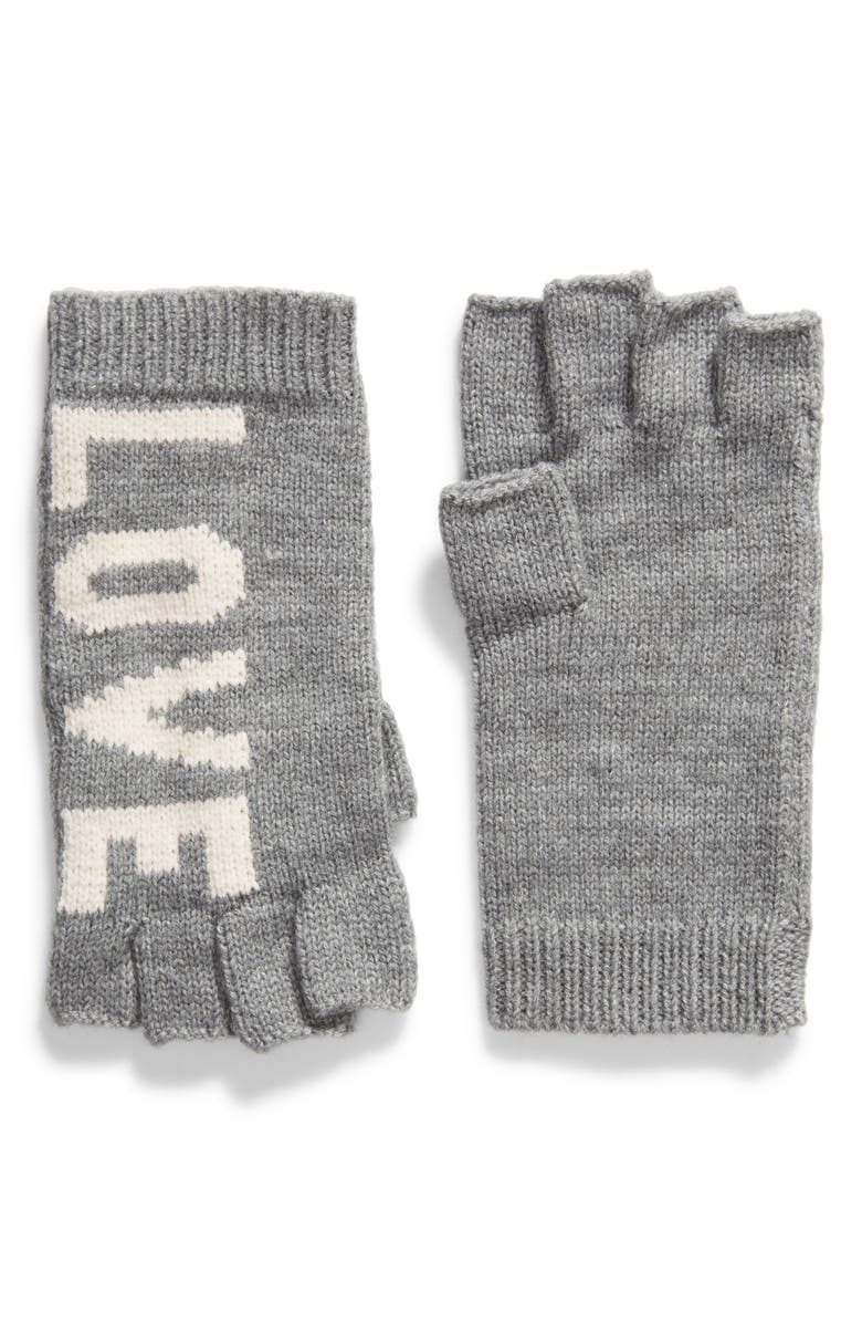 REBECCA MINKOFF Stadium Fingerless Gloves, Main, color, HEATHER GRAY/ ECRU