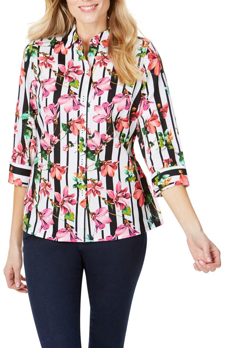 FOXCROFT Suzette Hibiscus Stripe Wrinkle Free Shirt, Main, color, 160